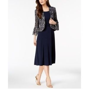 Jessica Howard Petite Ruched Dress Lace BellSleeve